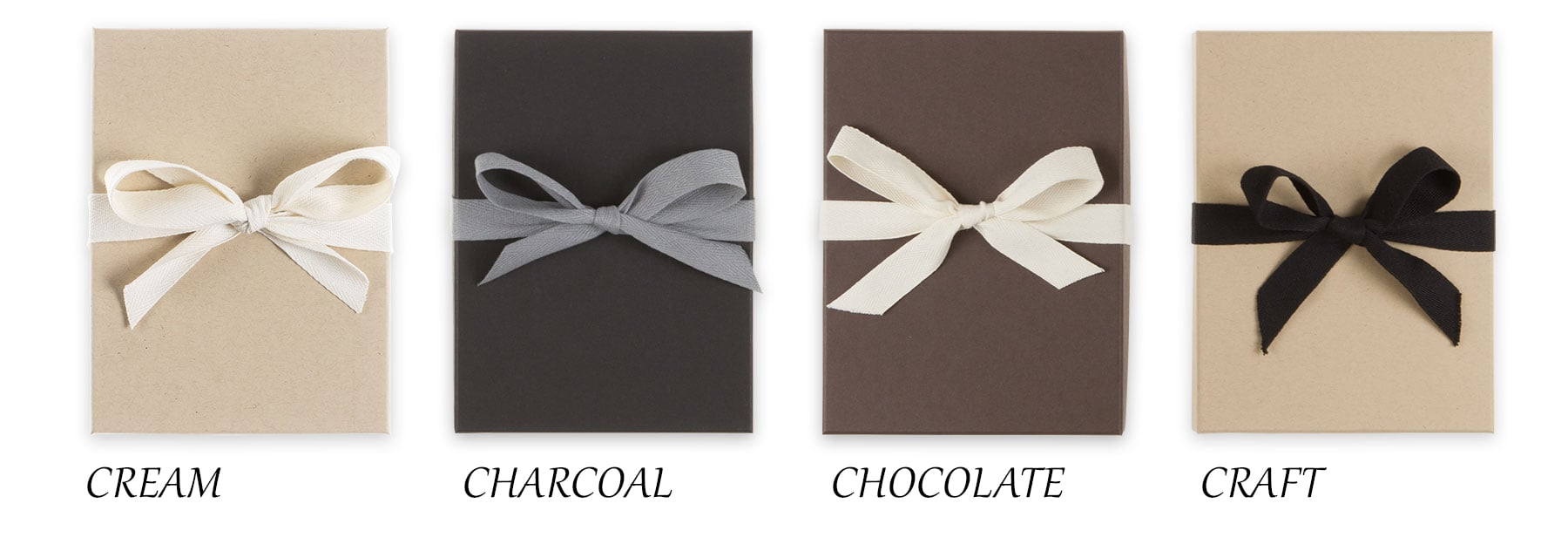 Colors of the boxes that elopement photography albums come in.