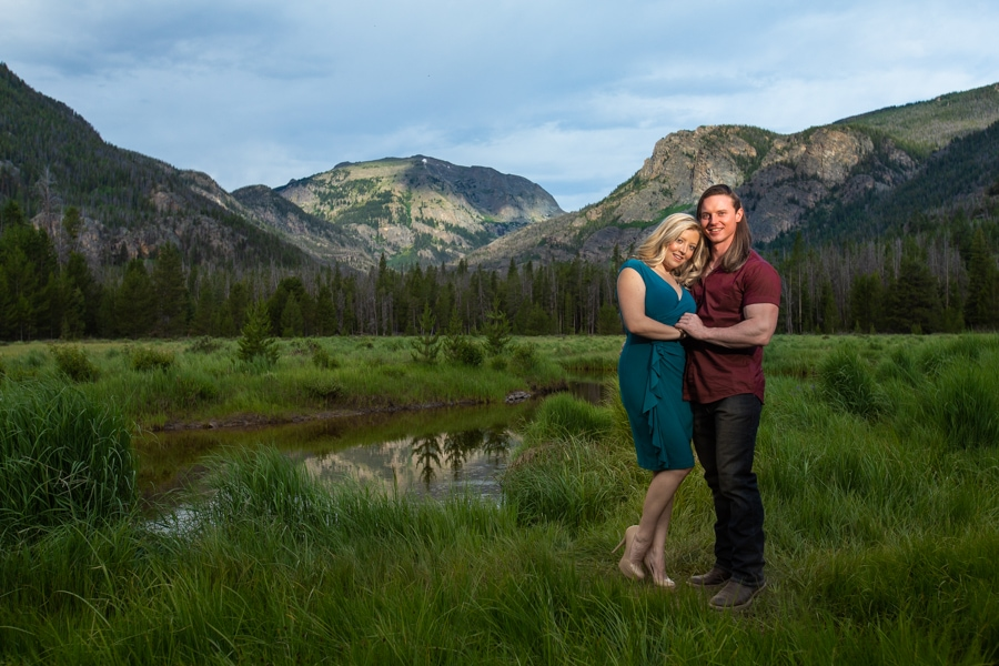 Adams Falls Engagement Photos in Rocky Mountain National Park