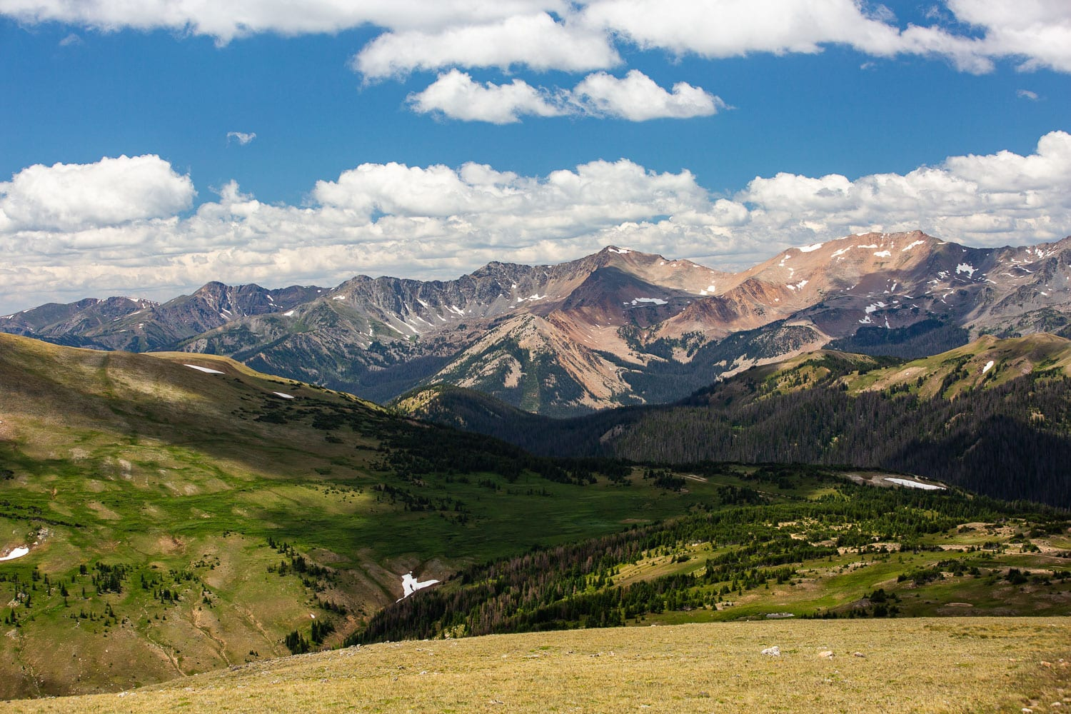 A view of the mountain peaks from Rocky Mountain National Park's trail ridge road.