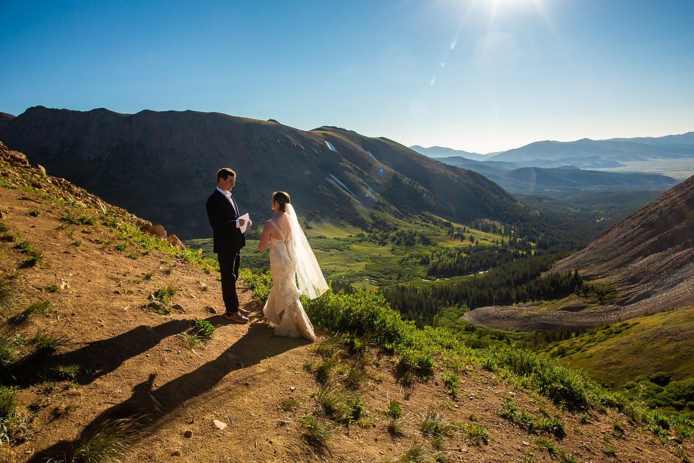 A colorful colorado mountain elopement on Boreas Pass in summer time.