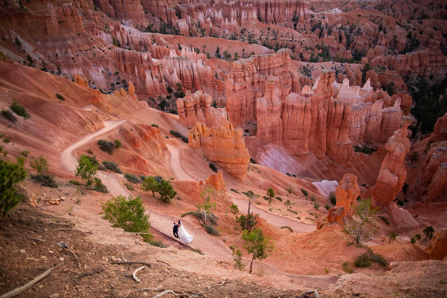 A landscape photo of Bryce Canyon amphitheater with a wedding couple strolling through.
