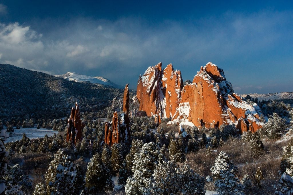 Winter at a garden of the gods elopement location.