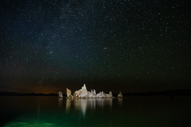 A starry photo of a tufa island in Mono Lake.