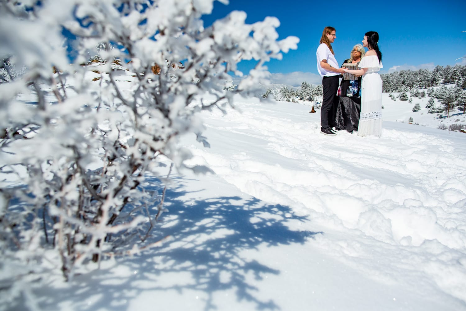 A bride and groom say their vows at their winter elopement in the snow.