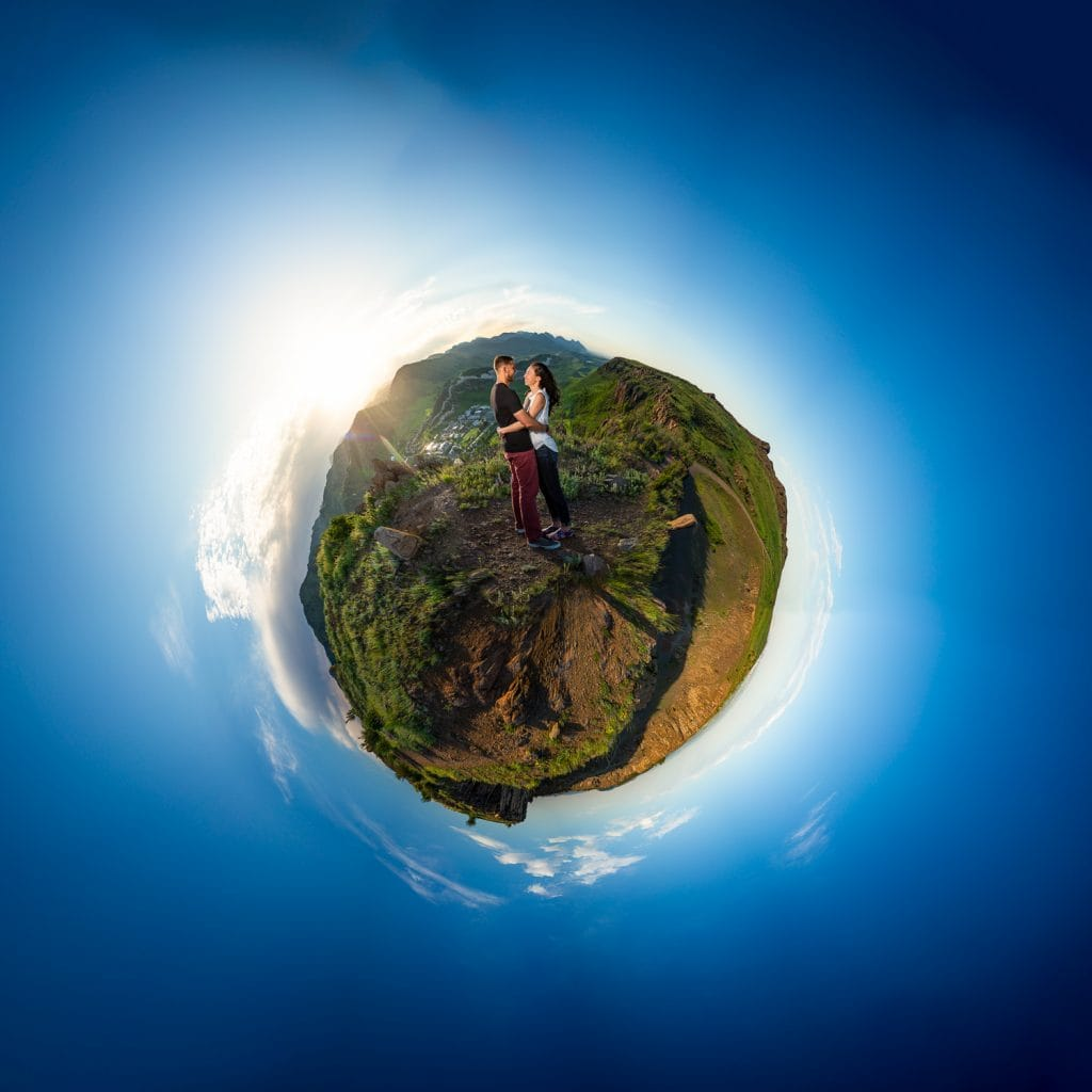A tiny planet engagement photo in Golden, Colorado