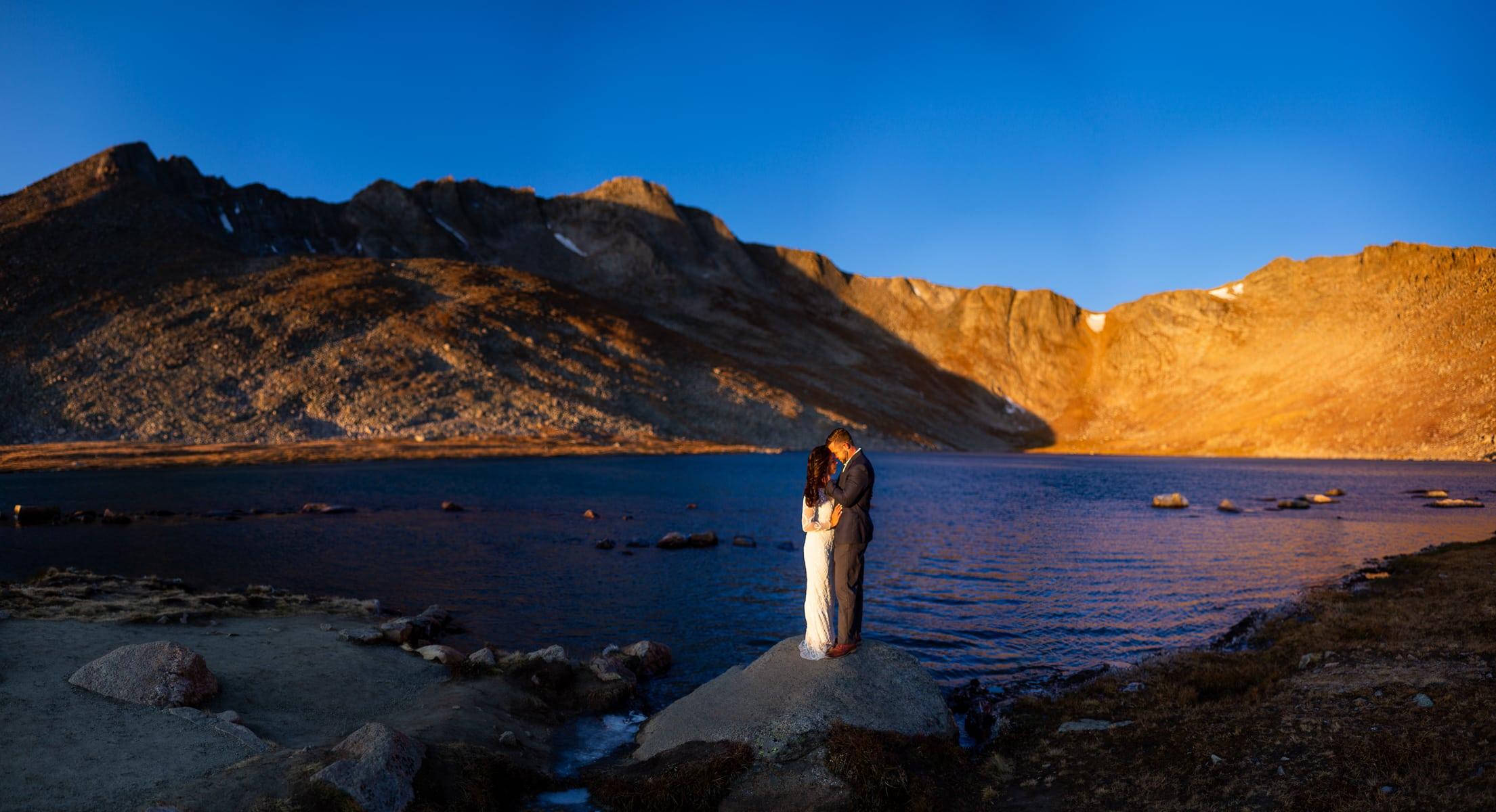 Mt evans Colorado elopement photo at sunrise