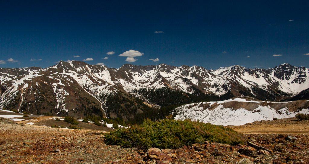 The San Juan mountains in spring from Ouray, Colorado.