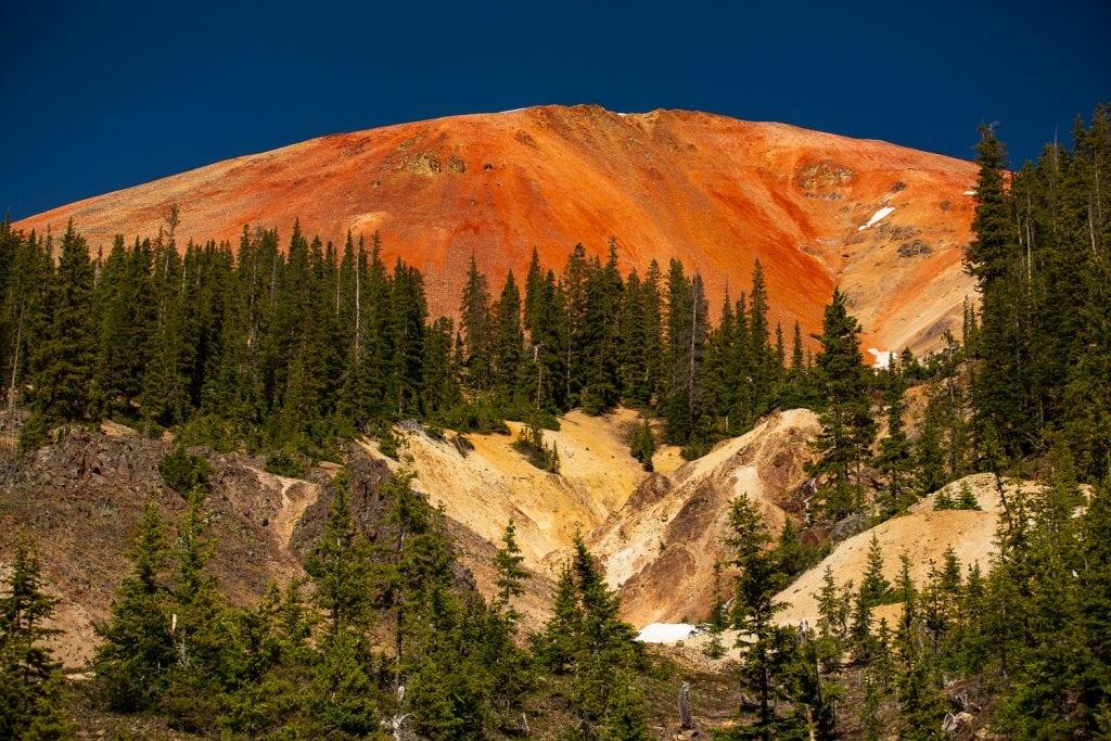 Red mountain in Ouray, Colorado.
