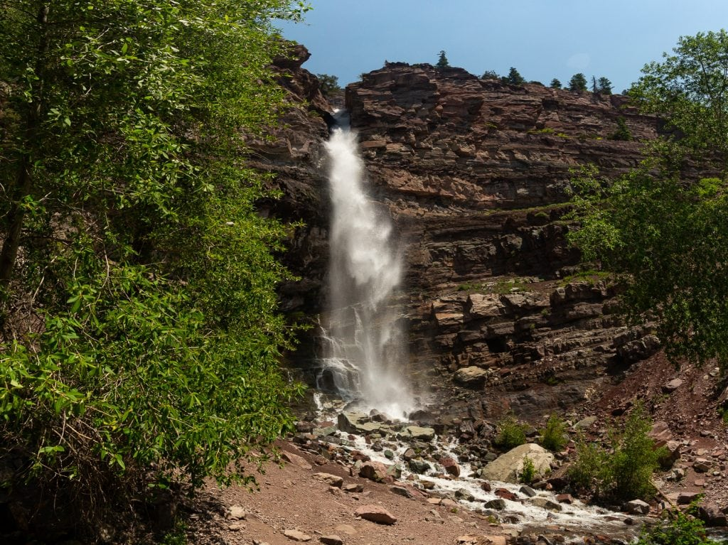 A huge waterfall in Ouray, Colorado.