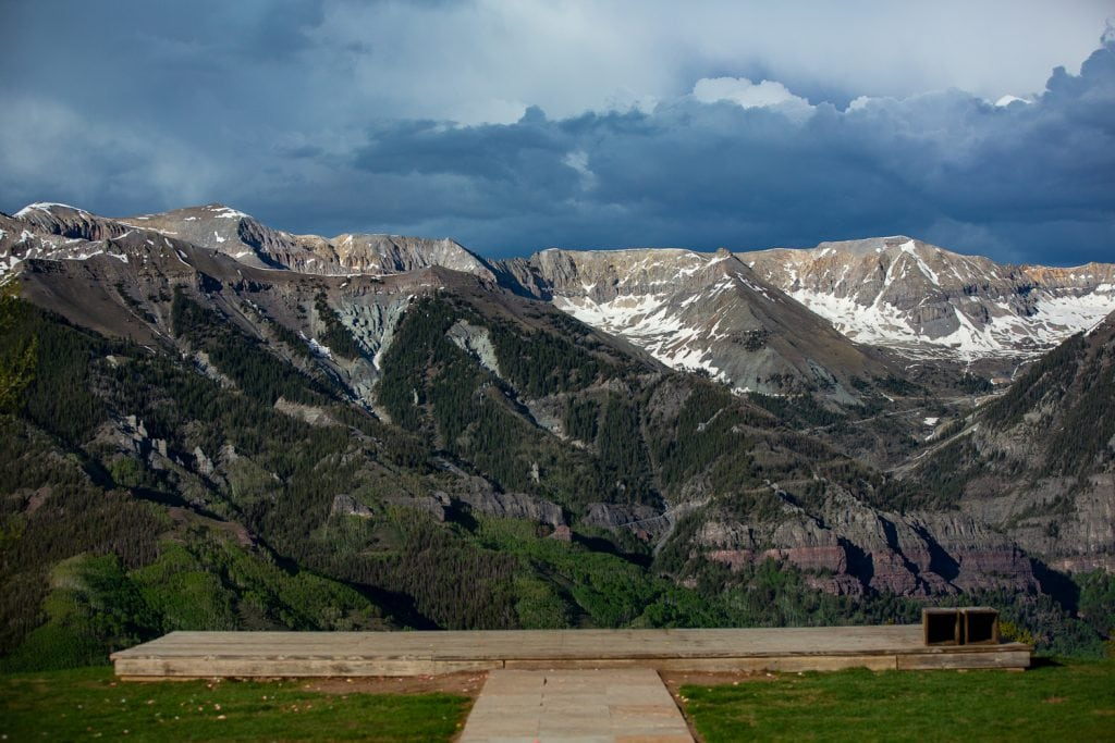 The deck at San sophia overlook at the top of the telluride gondola