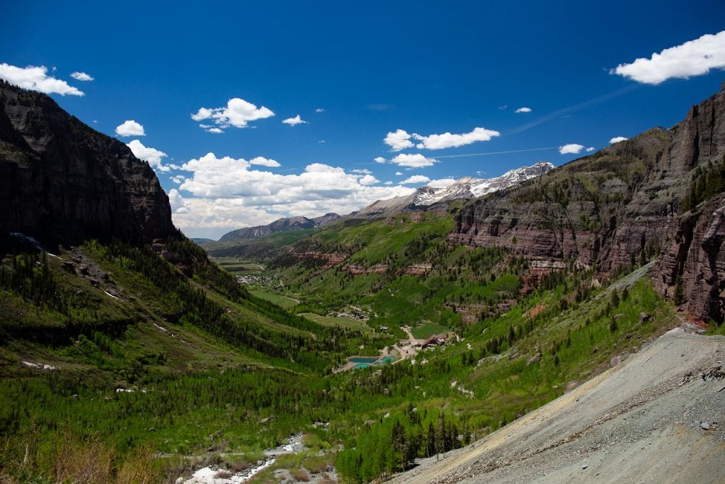 The town of telluride in the valley in summer.