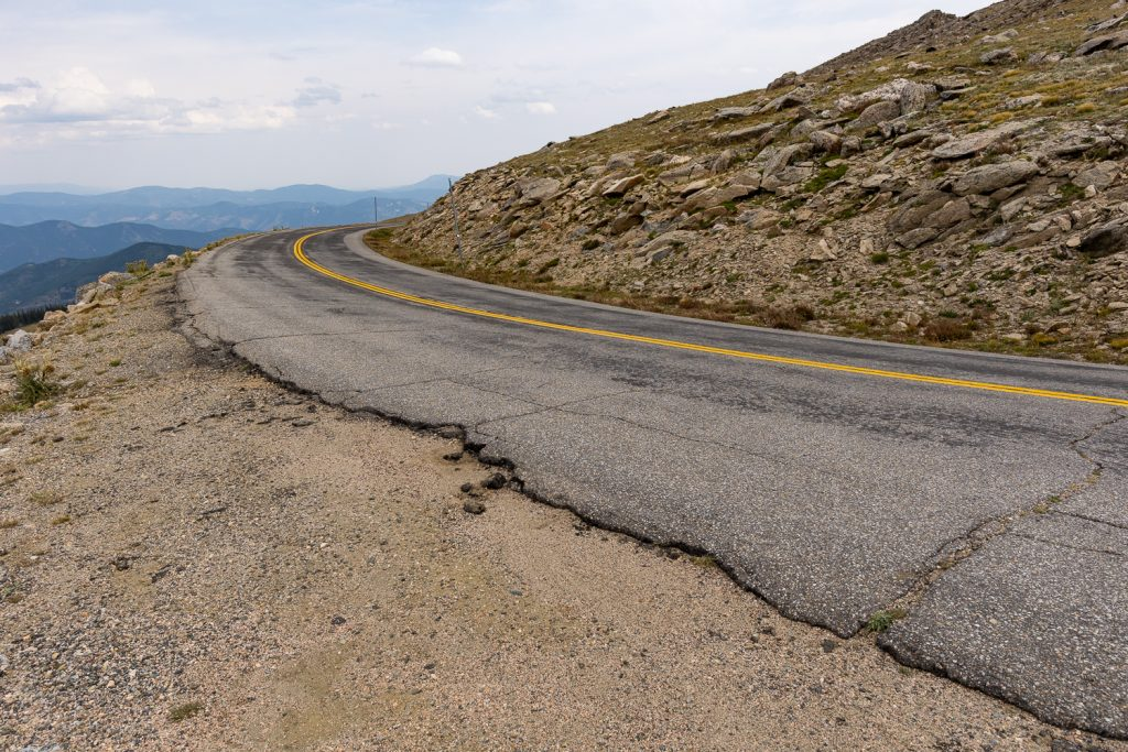 The crumbling edge of Mt. Evans Scenic byway.