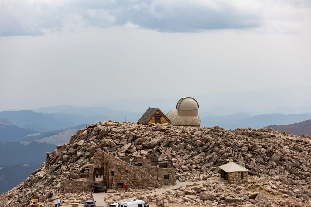 The summit area of Mt. Evans including the observatory and stone house.