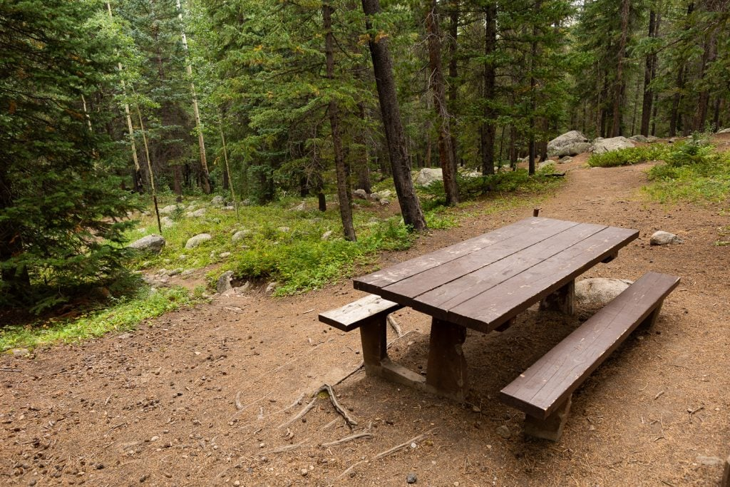 A brown picnic table in Arapahoe National Forest