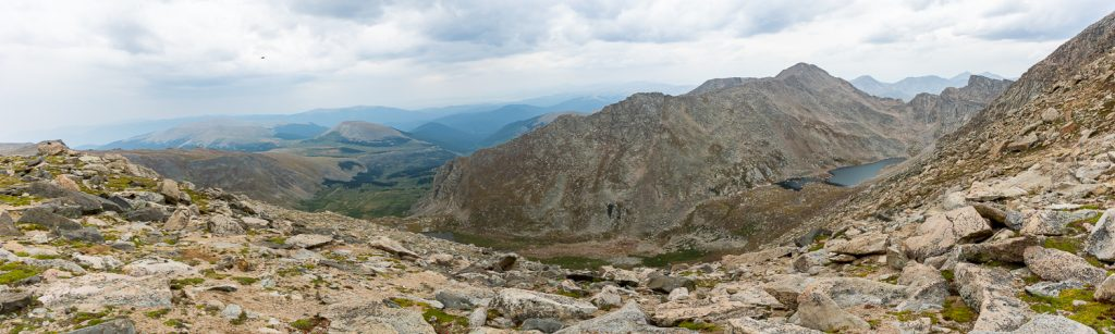 A view of Abyss Lake from the summit of Mt. Evans, Colorado.