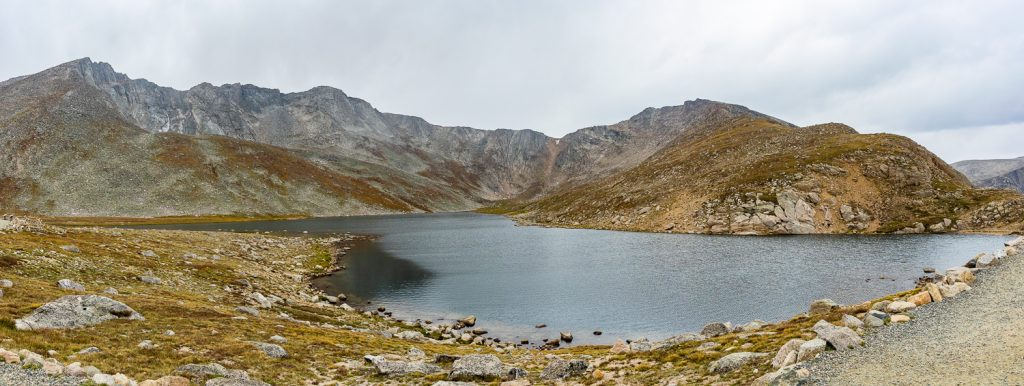 A panoramic view of Summit Lake, Colorado in September.