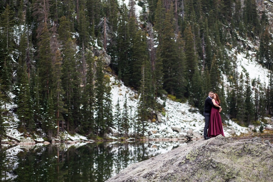 Emerald Lake Engagement Photos in Rocky Mountain National Park
