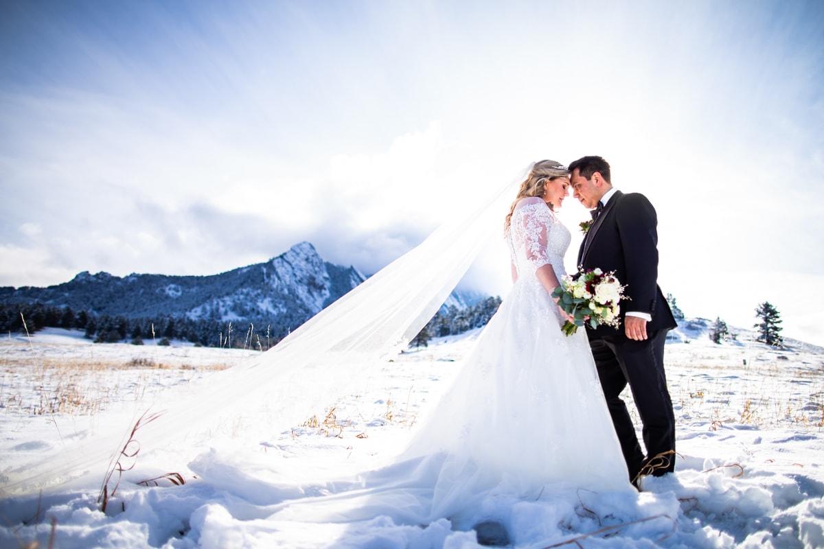 Boulder Flatirons Winter Wedding Photos