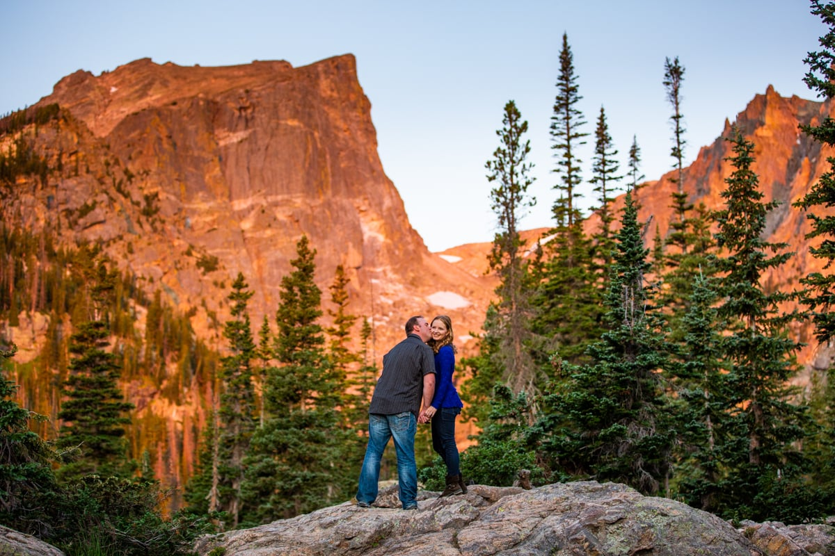 Sunrise Dream Lake Engagement Photos – Rocky Mountain National Park Photographer
