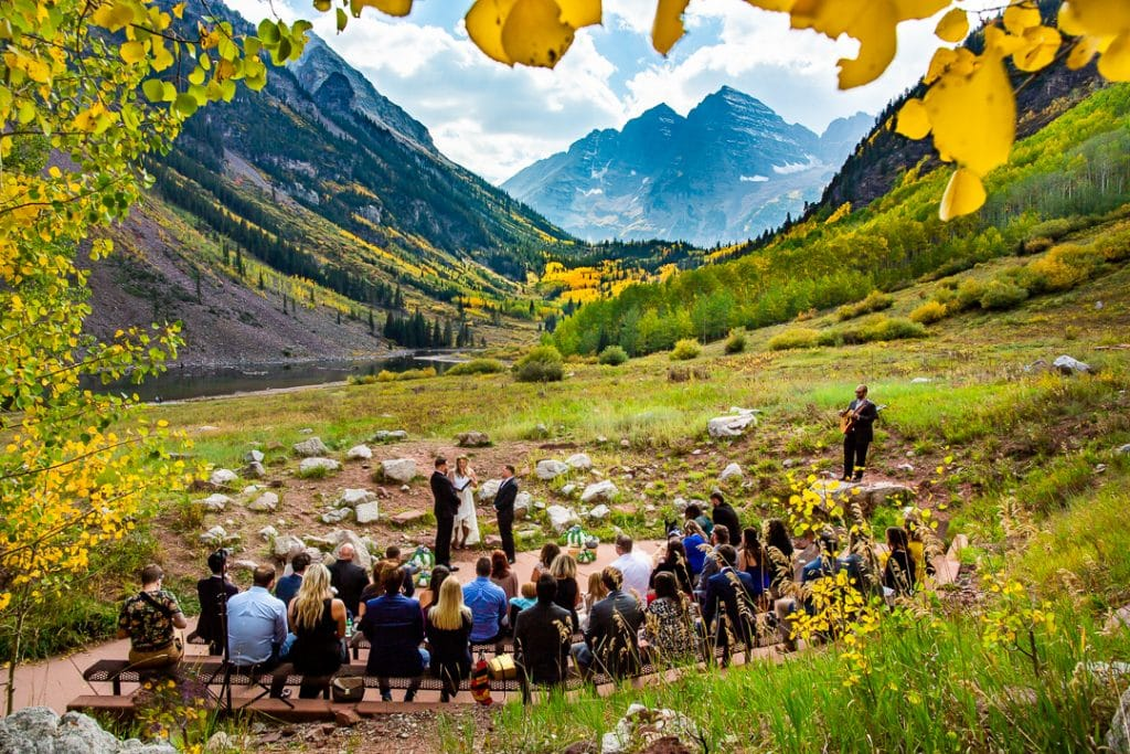 Maroon bells wedding ceremony in september