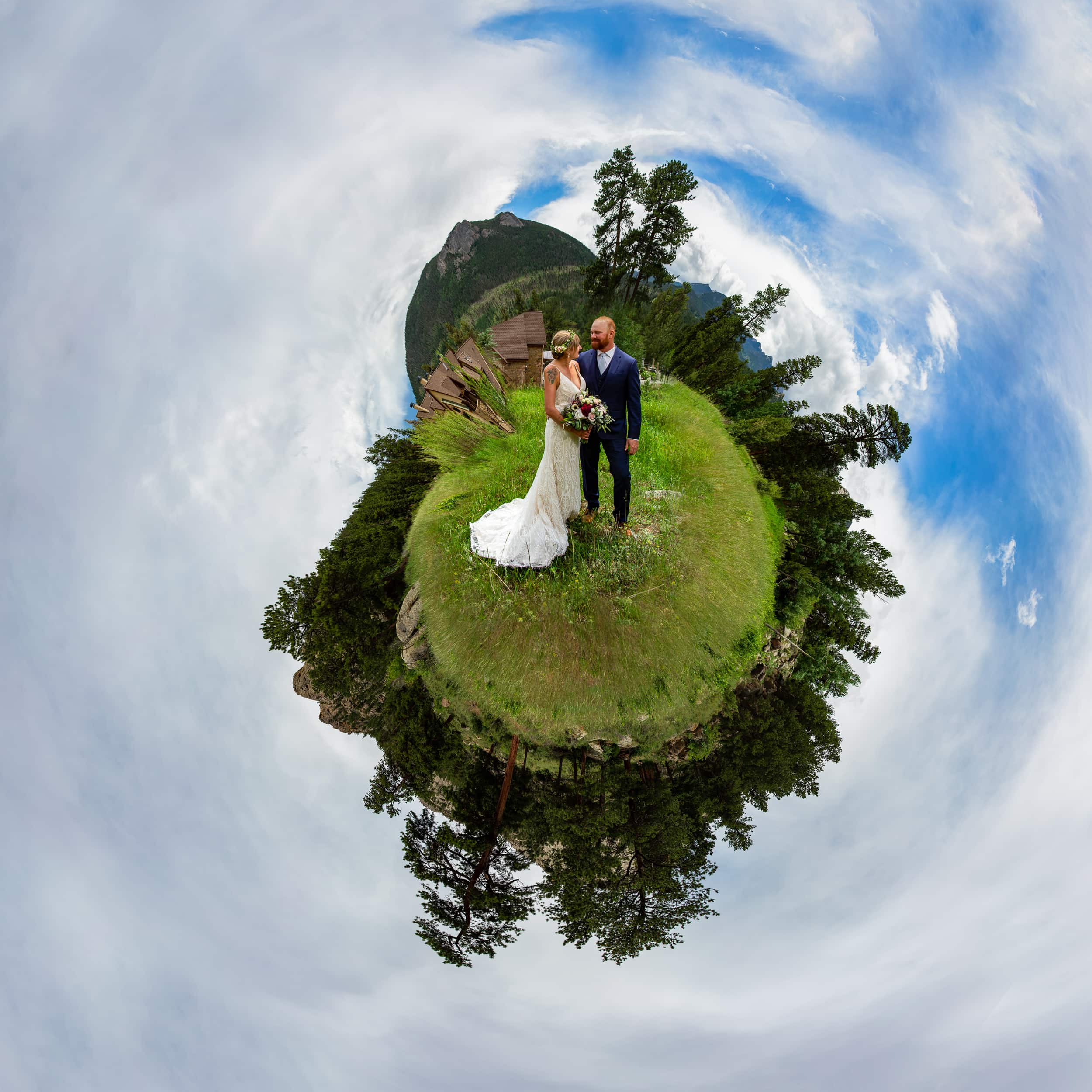 a colorful tiny planet of a wedding in Estes Park